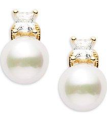 10mm white faux pearl & sterling silver hollow fill earrings