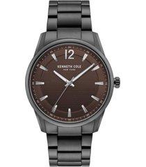 kenneth cole new york men's gunmetal stainless steel bracelet watch, 42mm