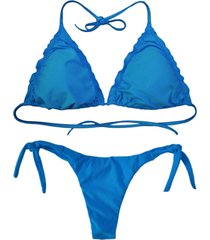 biquãni cortininha divance turquesa   calcinha ripple 613 - azul - feminino - poliamida - dafiti