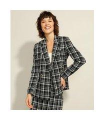 blazer longo transpassado de tweed estampado xadrez preto