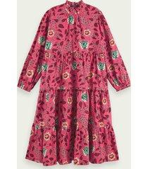 scotch & soda volumineuze midi-jurk met lange mouwen en bloemenprint