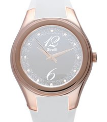 manhattan - orologio bianco in silicone, ghiera oro, quadrante bianco per donna