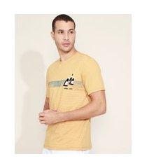 camiseta masculina barco com faixa manga curta gola careca amarela