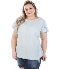 blusa plus size manga curta com pedraria feminina
