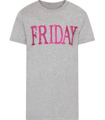 alberta ferretti grey girl t-shirt with purple writing
