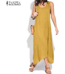 zanzea mujeres del verano sin mangas del vestido del tanque asimétrico camisa floja vestido vestido de tirantes plus -amarillo