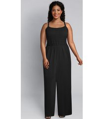 lane bryant women's knit kit shirred jumpsuit 22/24 black