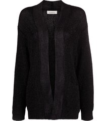 laneus slouchy knitted cardigan - black