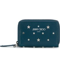 jimmy choo danny studded wallet - blue