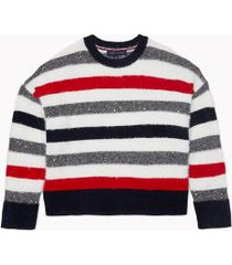 tommy hilfiger women's essential metallic stripe chenille sweater sky captain / silver / red - m