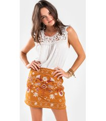 billie embroidered mini skirt - tan