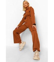 petite cargo utility overall jumpsuit, rust