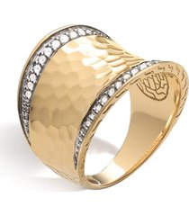 'classic chain' diamond 18k yellow gold saddle ring