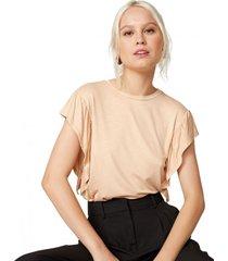 amaro feminino camiseta viscose manga com babado, natural