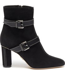 leather belt contrast stitch suede boots
