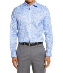 men's big & tall david donahue trim fit floral bird's eye dress shirt, size 16.5 - 36/37 - blue