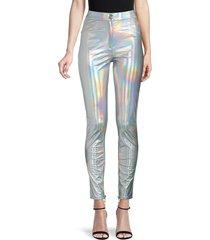balmain women's iridescent skinny jeans - silver - size 36 (4)