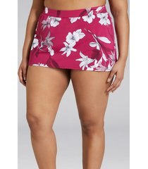 lane bryant women's slitted swim skirt 14 floral sangria