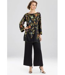couture beaded floral tunic top, women's, black, 100% silk, size m, josie natori