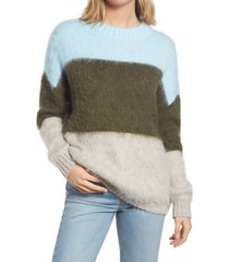women's bp. oversize brushed pullover, size xx-small - blue
