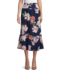 love ady women's floral-print long tiered skirt - navy multi - size l