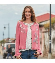 bougainvillea bloom cardigan sweater