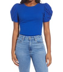 1.state puff sleeve rib knit t-shirt, size xx-small in cobalt sea at nordstrom