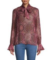 paige women's maline print silk blouse - rose - size m