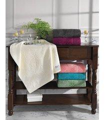 toalha de banho dohler jacquard agatha, liso, marfim - fj-5677