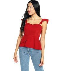 blusa con bolero en cintura roja