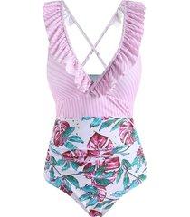 ruffle striped flower leaf criss cross one-piece swimsuit