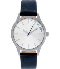 simplify quartz the 2400 silver case, genuine navy leather watch 42mm