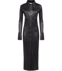 nanushka lee pleated vegan leather long shirt dress