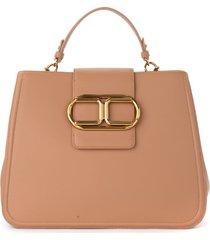 elisabetta franchi shoulder bag in toffee-colored eco-leather