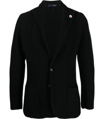 lardini chunky-knit blazer - black