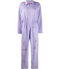 ireneisgood stud-embellished cotton jumpsuit - purple