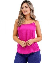 blusa básica de seda con tiras magenta unipunto 32373