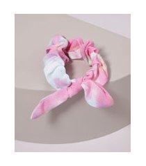 elástico de cabelo scrunchie estampado tie tye com laço rosa