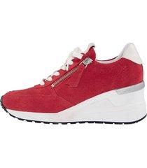 skor med snörning och dragkedja naturläufer röd