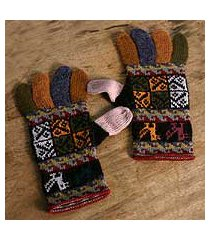 100% alpaca gloves, 'autumn songbirds' (peru)