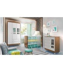 dormitório guarda roupa ariel 3 portas fraldário berço gabi amadeirado carolina baby