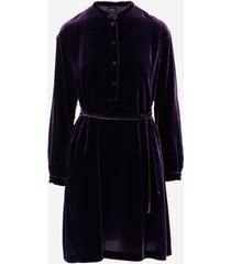 aspesi designer dresses & jumpsuits, purple velvet women's dress