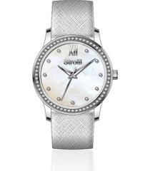 orologio solo tempo cinturino e cassa in acciaio silver, quadrante madreperla per donna