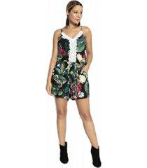 macaquinho bon floral preto - preto - feminino - dafiti