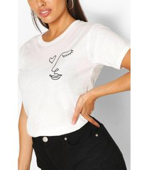 petite line drawing face t-shirt, ivory