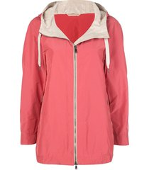 brunello cucinelli drawstring parka coat - pink
