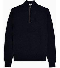 mens navy textured zip neck sweater