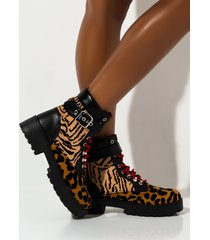 akira love to hate me animal print boot