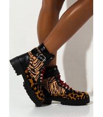 akira love to hate me animal print boot
