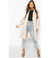 ruched sleeve belted trench coat, stone